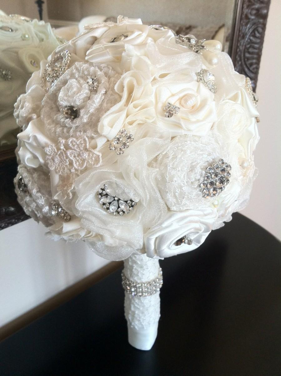 Wedding Bouquet Vintage Inspired Ivory Bridal Alternative Bouquets Brooch