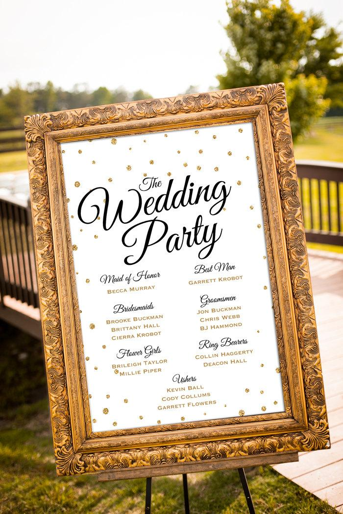 Printable Wedding Party Sign Gold Wedding Decor Black Gold