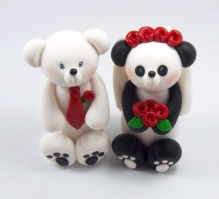 Hochzeit - Wedding Cake Topper, Polar Bear, Panda, Custom Wedding Cake Topper, Handmade Figurine