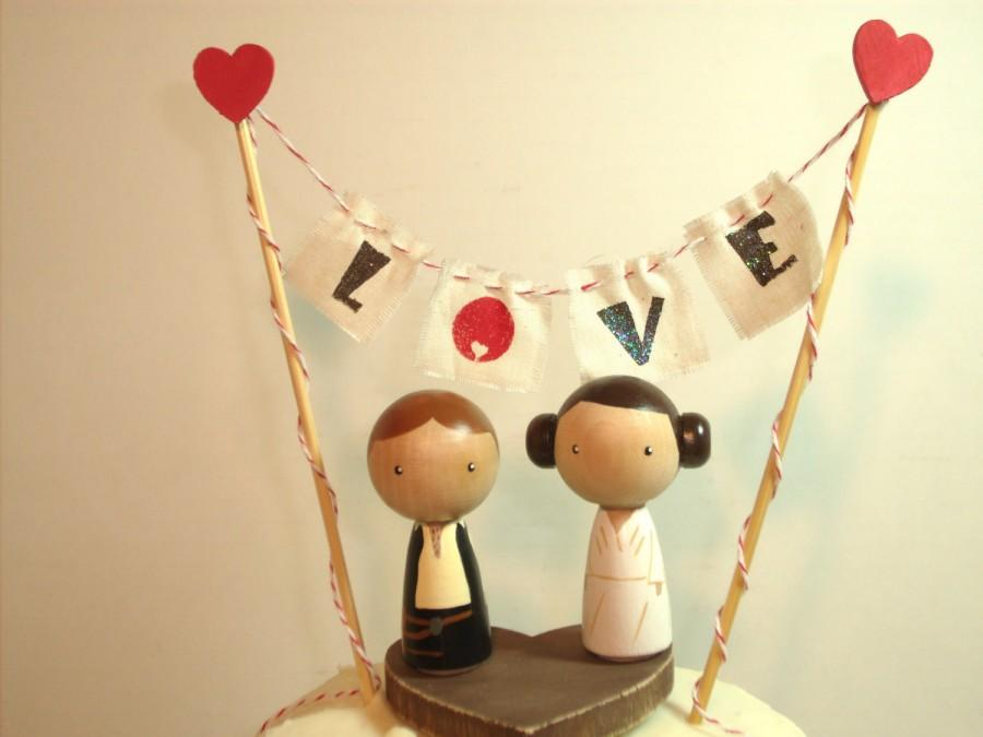Wedding - Personalized Star Wars Kokeshi Wedding Cake Topper with Base, Bunting and Heart, Love Bunting, Mr and Mrs Bunting