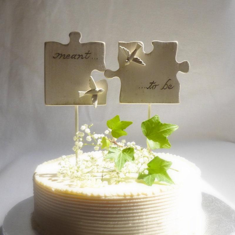 Wedding - Puzzle Piece Wedding Cake Topper with Love Birds,  Wedding Cake Topper with Hand Carved Wood Puzzle Pieces in Antique White