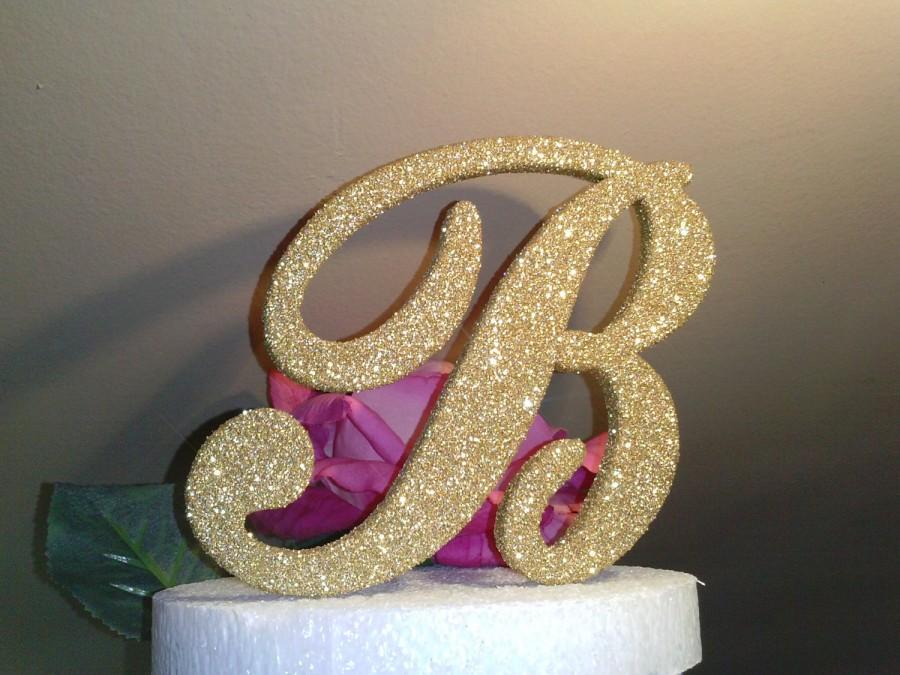 Mariage - Monogram cake topper 6 inch Golden Glitter