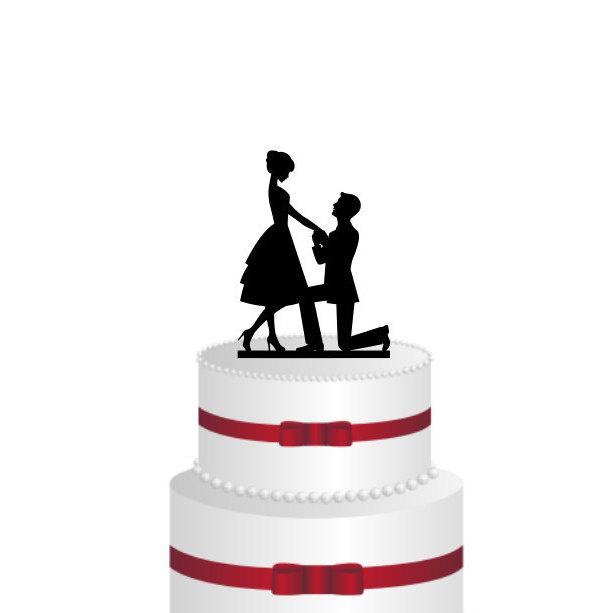 Mariage - Bride and Groom Cake Topper - Engagement Cake Topper - Silhouette