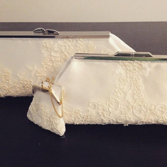 Mariage - Custom Bridal Clutch from Mother's Wedding Dress