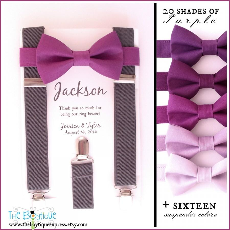 Свадьба - Cassis Bow Tie, Grey Suspenders, Adult Suspenders, Toddler Suspenders, Baby, Boys, Kids, Berry, Purple, Plum, Mulberry, Ring Bearer Gift,