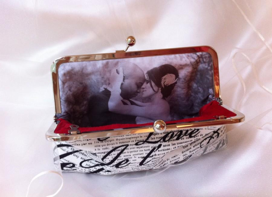 Mariage - Photo lining for  Wedding bridesmaid Clutch Personalized Custom