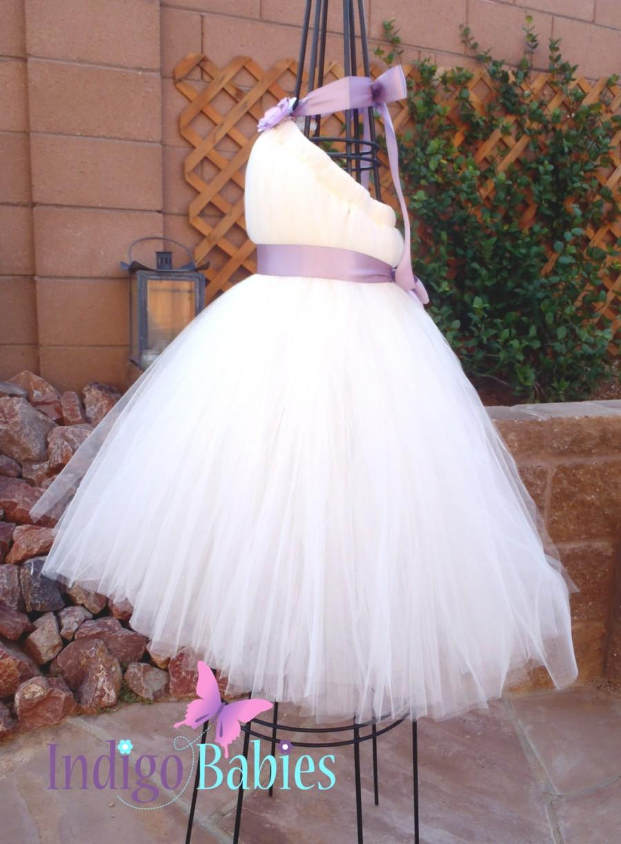 Tutu Dress Flower Girl Dress Ivory Off White Tulle Lilac