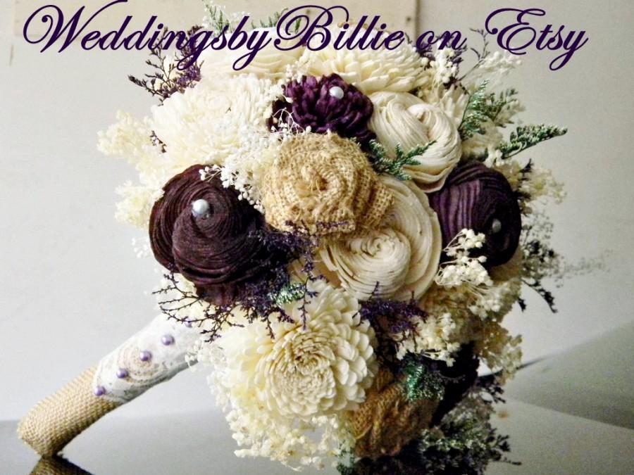 Mariage - Fall Bouquet, Plum Sola Bouquet,Burlap Lace,Purple Bouquet,Alternative Bouquet,Rustic, Bridal Accessories,Keepsake Bouquet,Wedding Bouquet