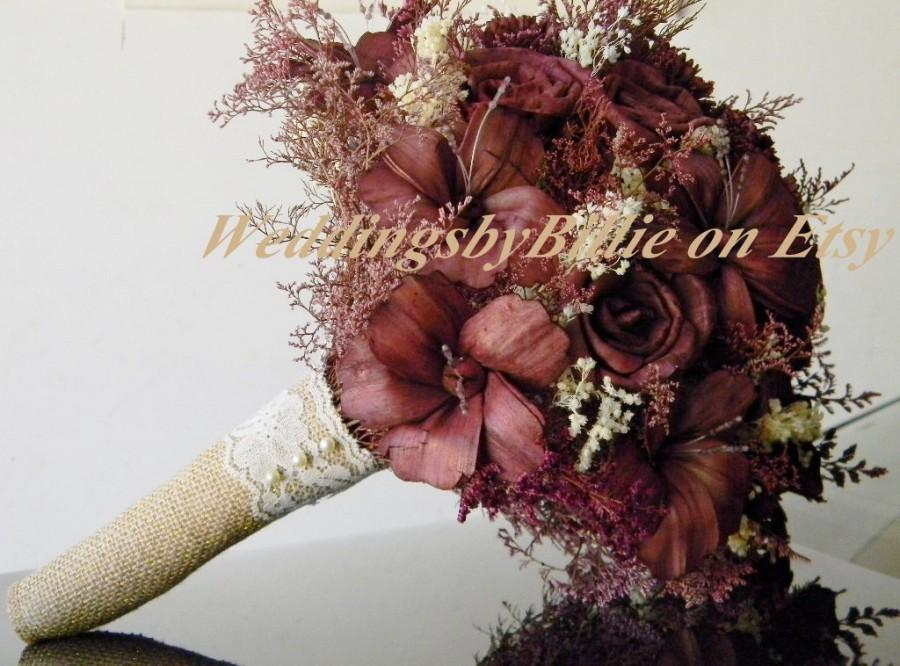Wedding - Fall Bouquet, Marsala Bouquets, Pantone 2015, Sola Bouquet, Burlap Lace Wedding,Alternative Bouquet,Bridal Accessories,Keepsake Bouquet Sola
