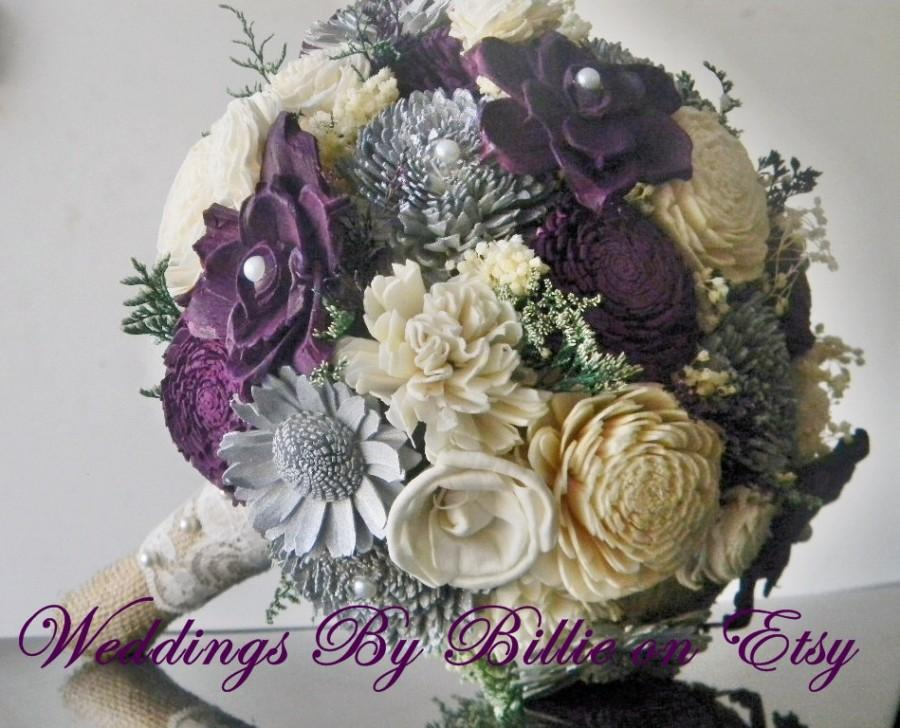 Fall Bouquets Plum Gray Sola Bouquet Burlap Lace Purple BouquetAlternative BouquetShabby Chic Bridal AccessoriesKeepsake