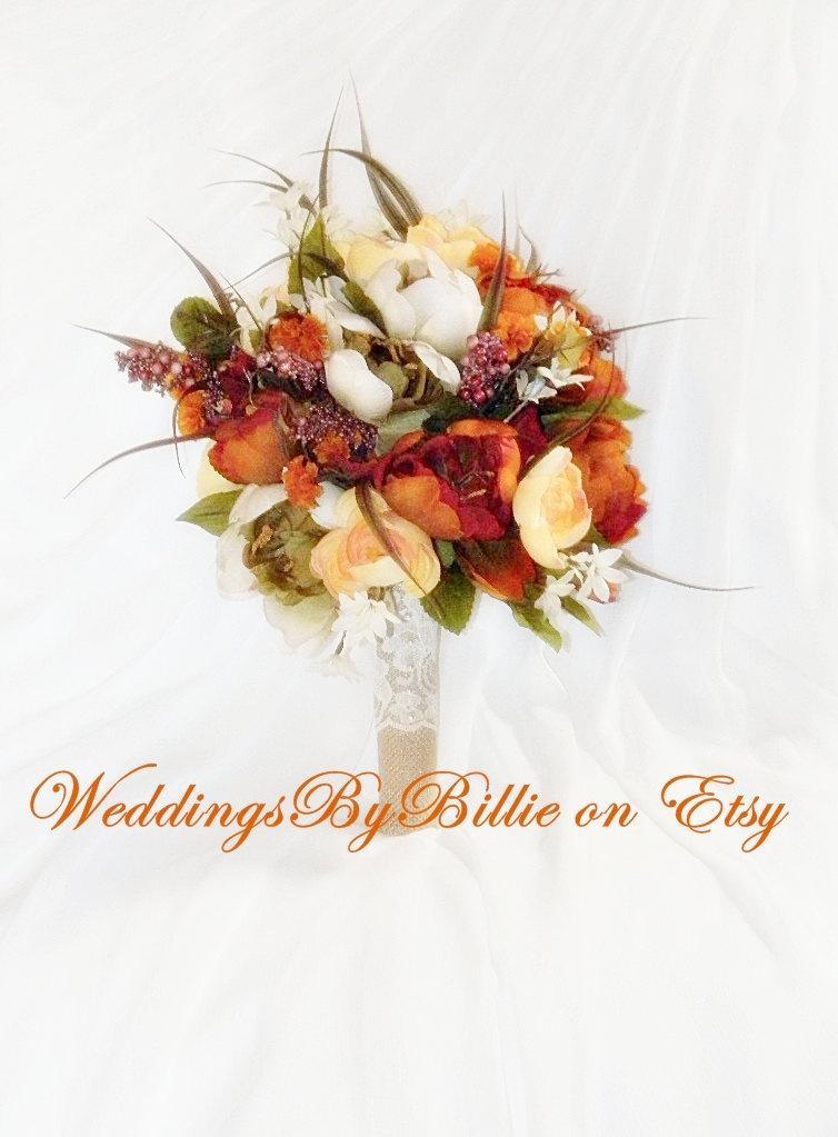 زفاف - Fall Flowers-Fall Bouquet-Fall Wedding-Fall Bridal-Wildflower Bouquet-Burlap and Lace-Rustic Wedding-Outdoor Wedding-Fall Orange Bouquet