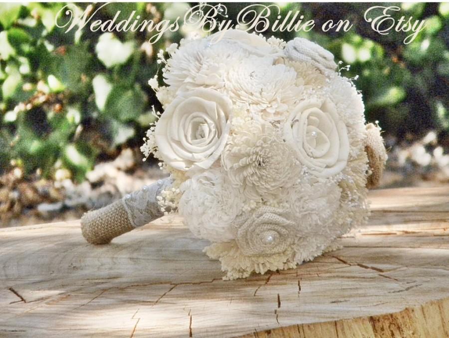 Mariage - Weddings, Bouquets, Sola Bouquet,Ivory Bouquet,Wedding Flowers,Alternative Bouquet,Burlap & Lace,Bridal Accessories,Keepsake Bouquet,Sola
