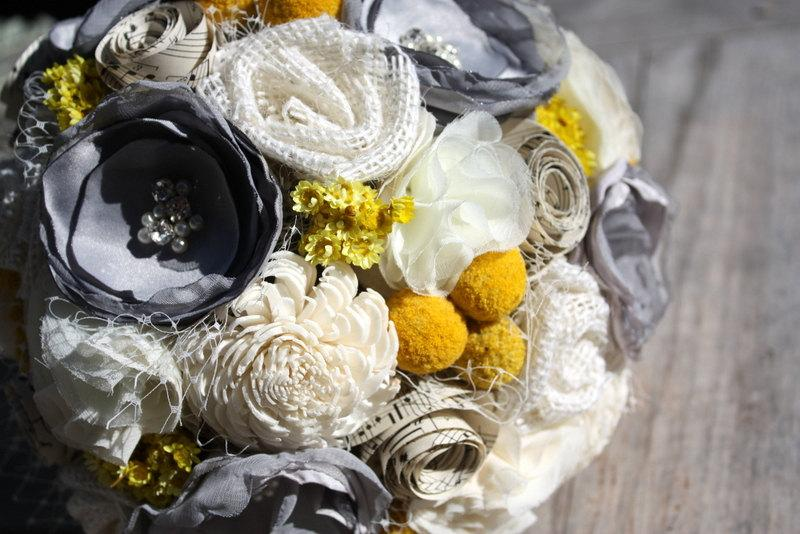 زفاف - Gray and yellow wedding bouquet, fabric flower bridal bouquet with billi balls, craspedia, vintage sheet music and sola flower bouquet