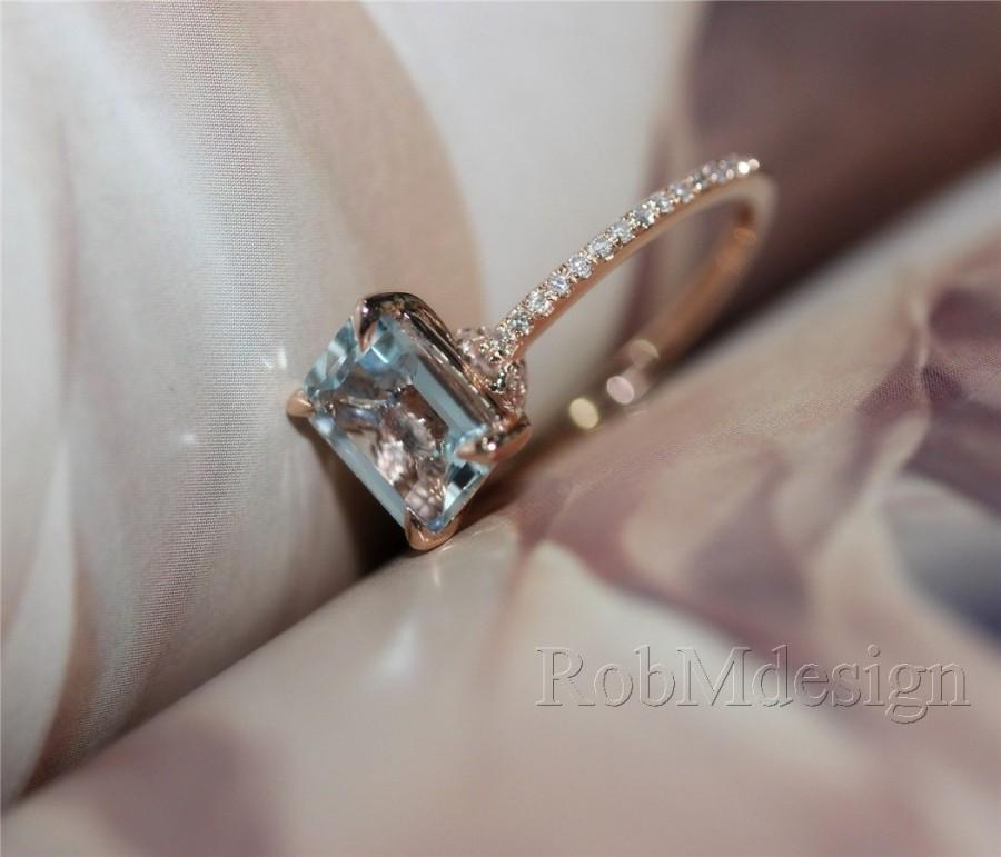 6 8mm VS Emerald Cut Aquamarine Ring Diamond Pave Setting Claw