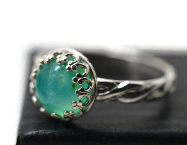 Wedding - Peruvian Blue Opal Ring, Celtic Silver Ring, Blue Green Gemstone Jewelry, Natural Jewel Ring