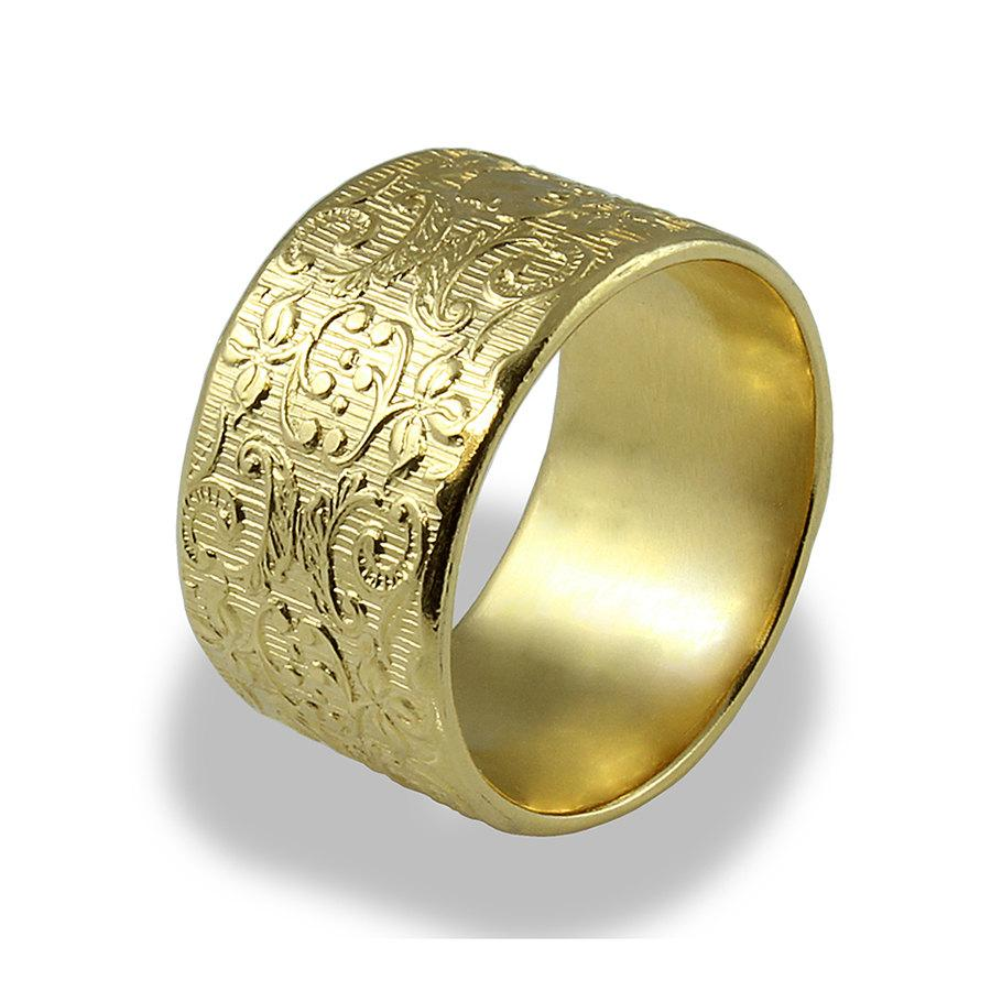 Wide Wedding Band Decorated Ring Unique Woman Wedding Band 14k Yellow Gold Textured Ring