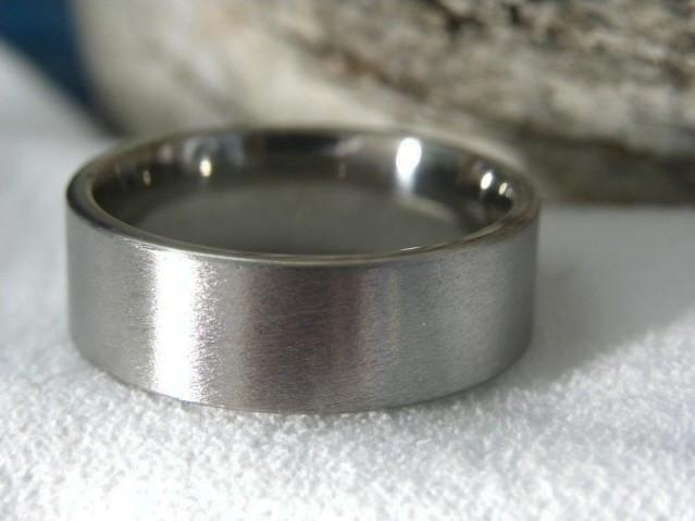زفاف - Titanium Ring Stone Finish Wedding Band AX16
