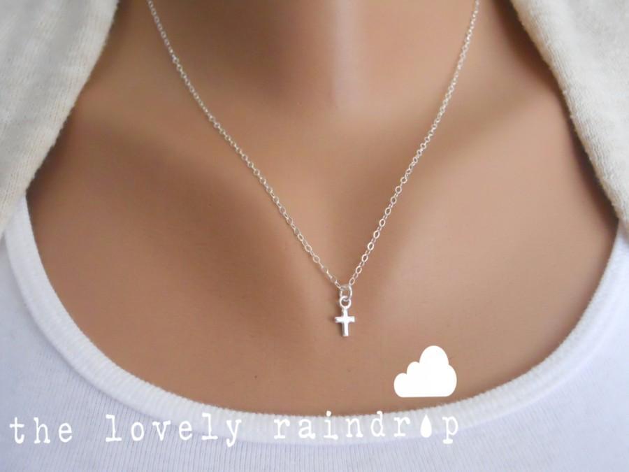 زفاف - SALE - Sterling Silver Cross Necklace - Little Dainty Cross Charm - Faith Necklace - Bridal Jewelry - Wedding Jewelry - Gift For - Friend