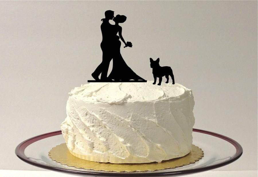 Mariage - WITH PET DOG Wedding Cake Topper Silhouette Wedding Cake Topper Bride + Groom + Dog French Bulldog Corgi Pet Family of 3 CakeTopper Corgi
