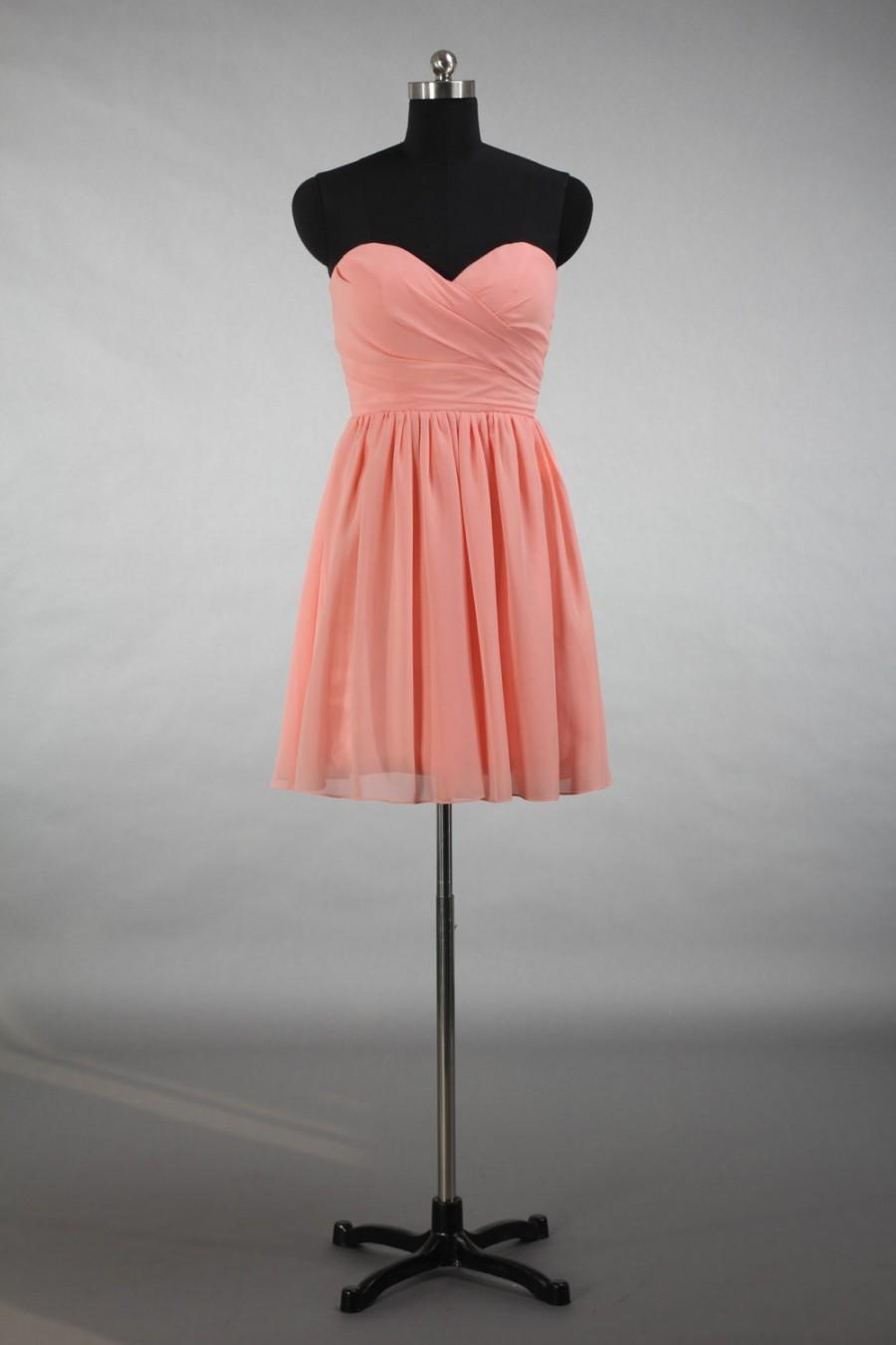 Peach Pink Bridesmaid Dress A Line Sweetheart Short Chiffon