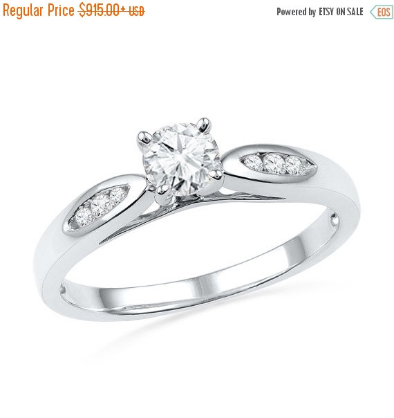 Wedding - Holiday Sale 10% Off 1/2 CT. TW. Diamond Engagement Ring Fashioned in White Gold or Sterling Silver