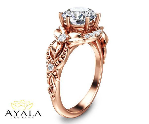 زفاف - Rose Gold Engagement Ring with Natural Diamonds Unique Flower Ring 14K Rose Gold Diamond Ring