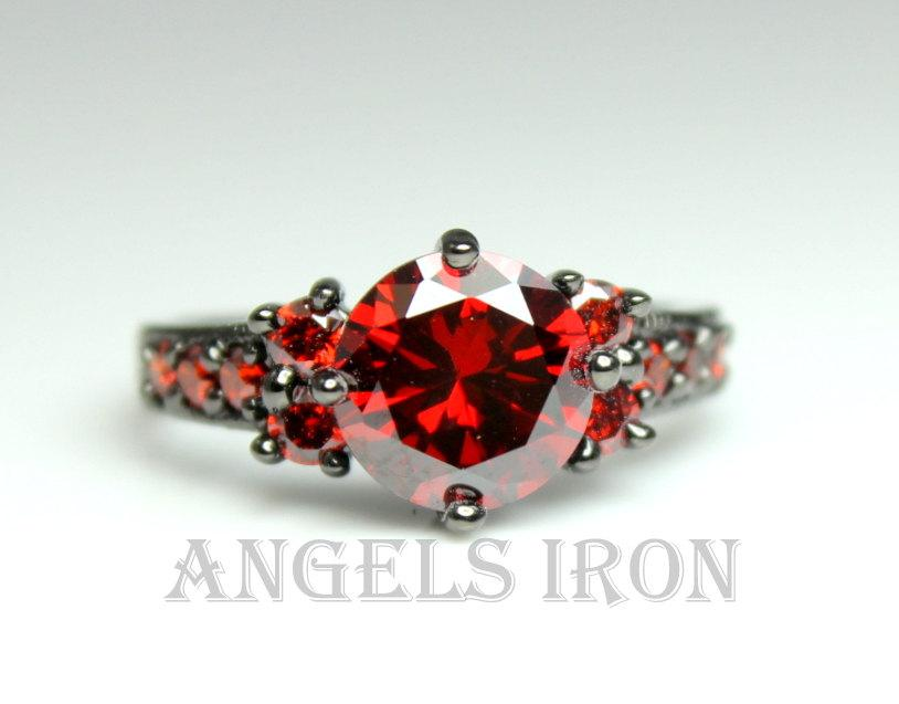 Unusual Ruby Wedding Gifts: Black Engagement Ring Gold Filled Hydro Ruby Red Wedding