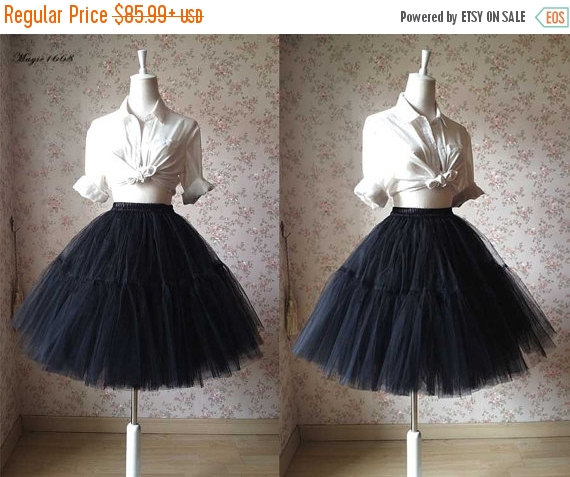 8769d6d509fd Black Tulle Skirt/Knee Tulle Skirt/Adult Bachelorette Tutu/Elastic Plus  Size Tutu Skirt/Wedding Party/, Photo Prop, Occasion Skirt, 6 layer