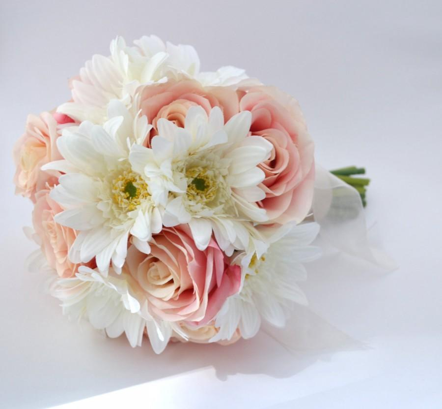 Pink rose and white gerbera daisy bouquet bridesmaid bouquet or pink rose and white gerbera daisy bouquet bridesmaid bouquet or small bridal bouquet pink and white fresh looking artificial flowers mightylinksfo
