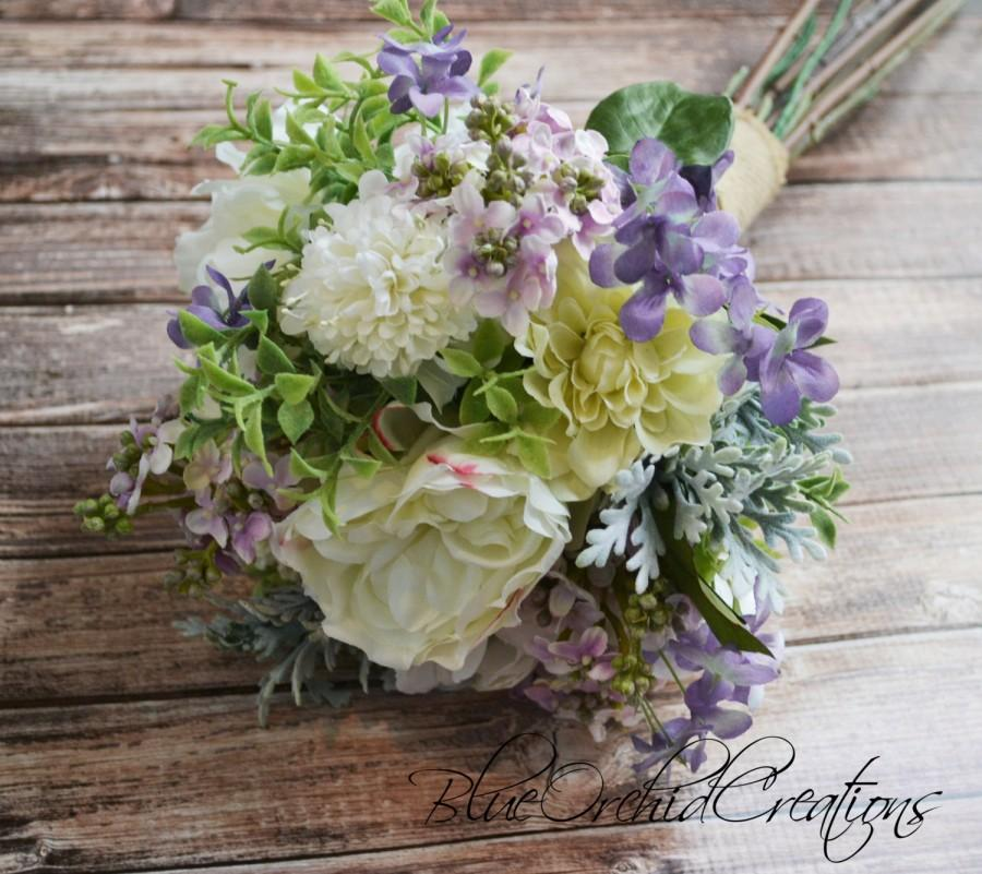 Garden Bouquet In Cream And Lavender Peony Bouquet Lilac Bouquet