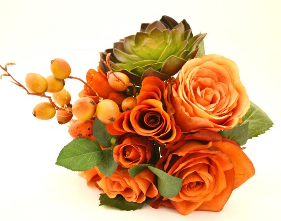 زفاف - Fall Bouquet - Bridesmaid Bouquet, Small Bouquet, Orange, Coral, Peach, Green, Succulent, Berries, Fall Wedding, Orange Bouquet, Echeveria