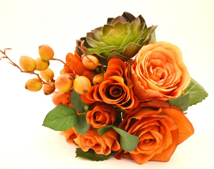 Mariage - Fall Bouquet - Bridesmaid Bouquet, Small Bouquet, Orange, Coral, Peach, Green, Succulent, Berries, Fall Wedding, Orange Bouquet, Echeveria