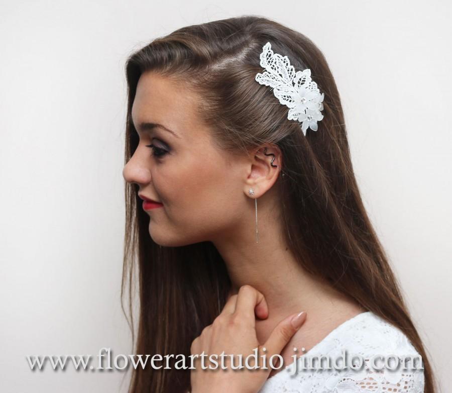 زفاف - Ivory Lace Headpiece, Ivory Bridal Hair Flower, Bridal Hair Accessories, Feminine Ivory Flower Comb, Ivory Lace and Rhinestone Bridal Comb.