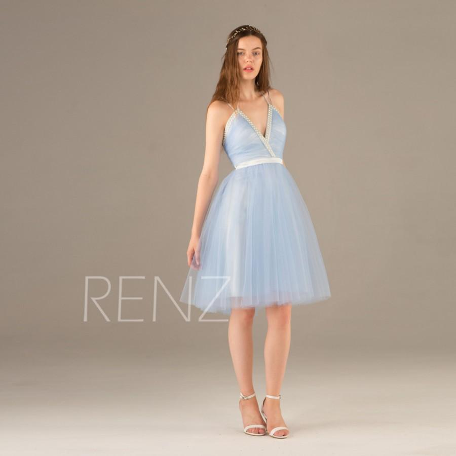 2015 light blue bridesmaid dress beaded jewel v neck for Light blue dress for wedding