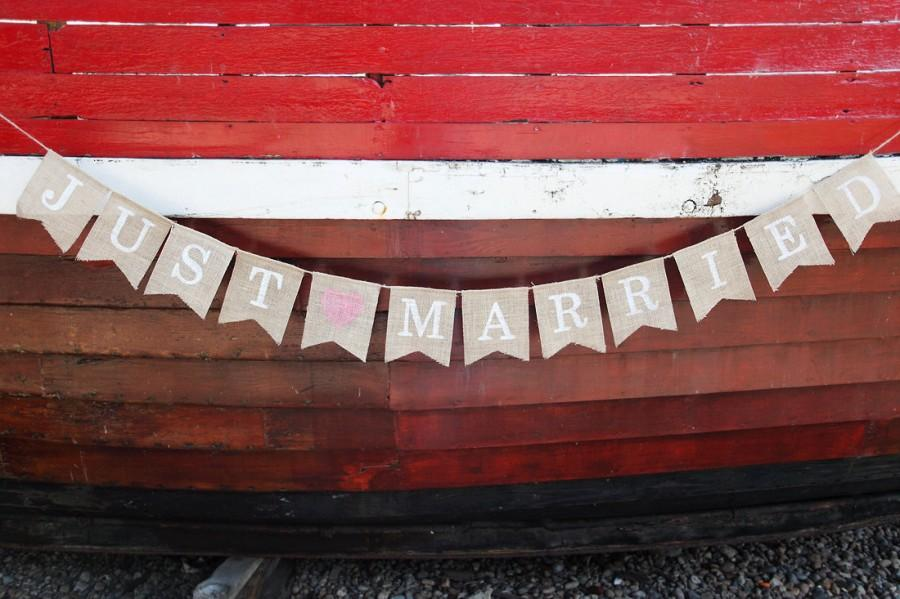 Mariage - Just married wedding bunting burlap banner for photo prop or decoration