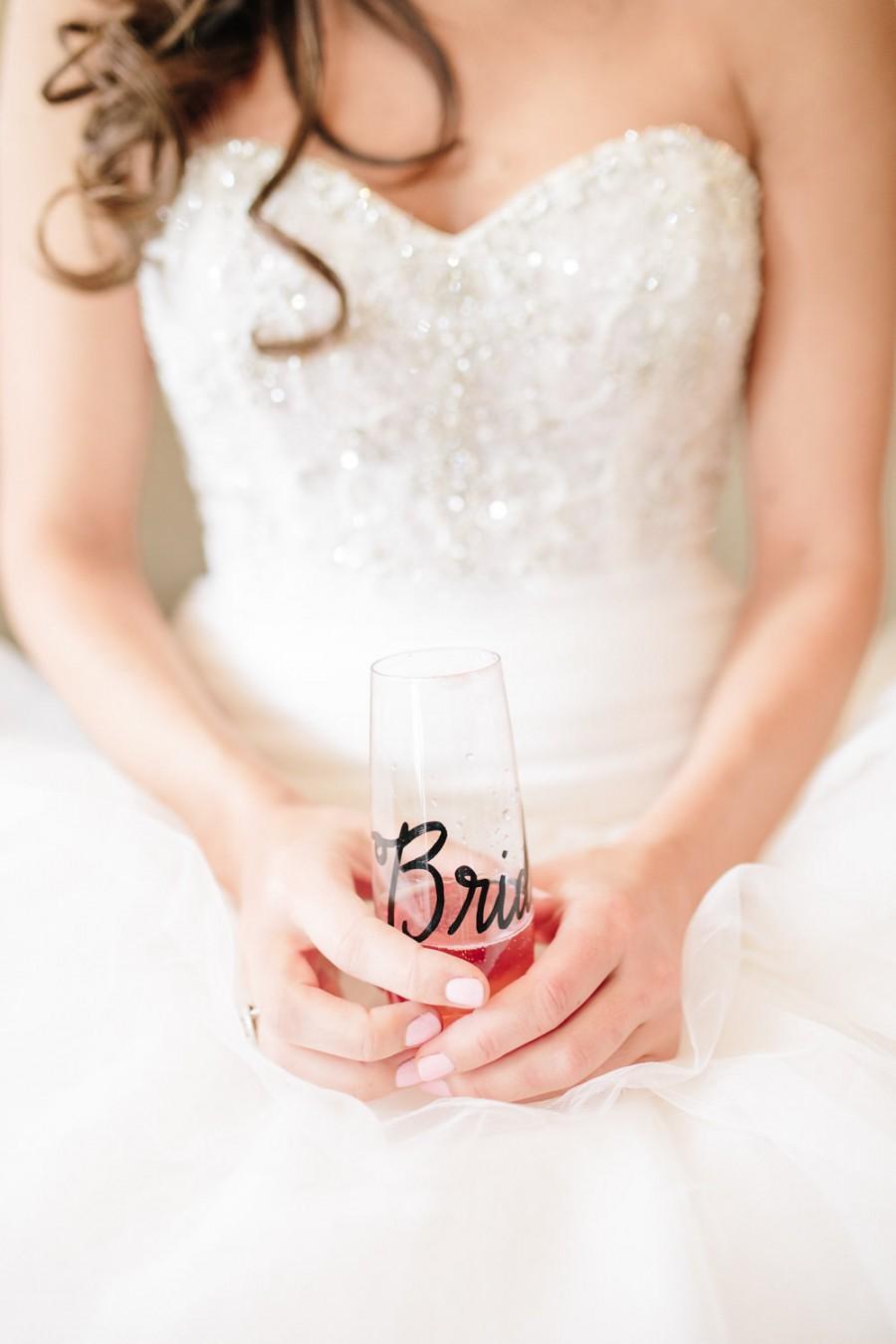 زفاف - Personalized Stemless Champagne Flutes, PLASTIC Wedding Calligraphy for Bachelorette Party, Wedding, Shower, New Years or Anniversary