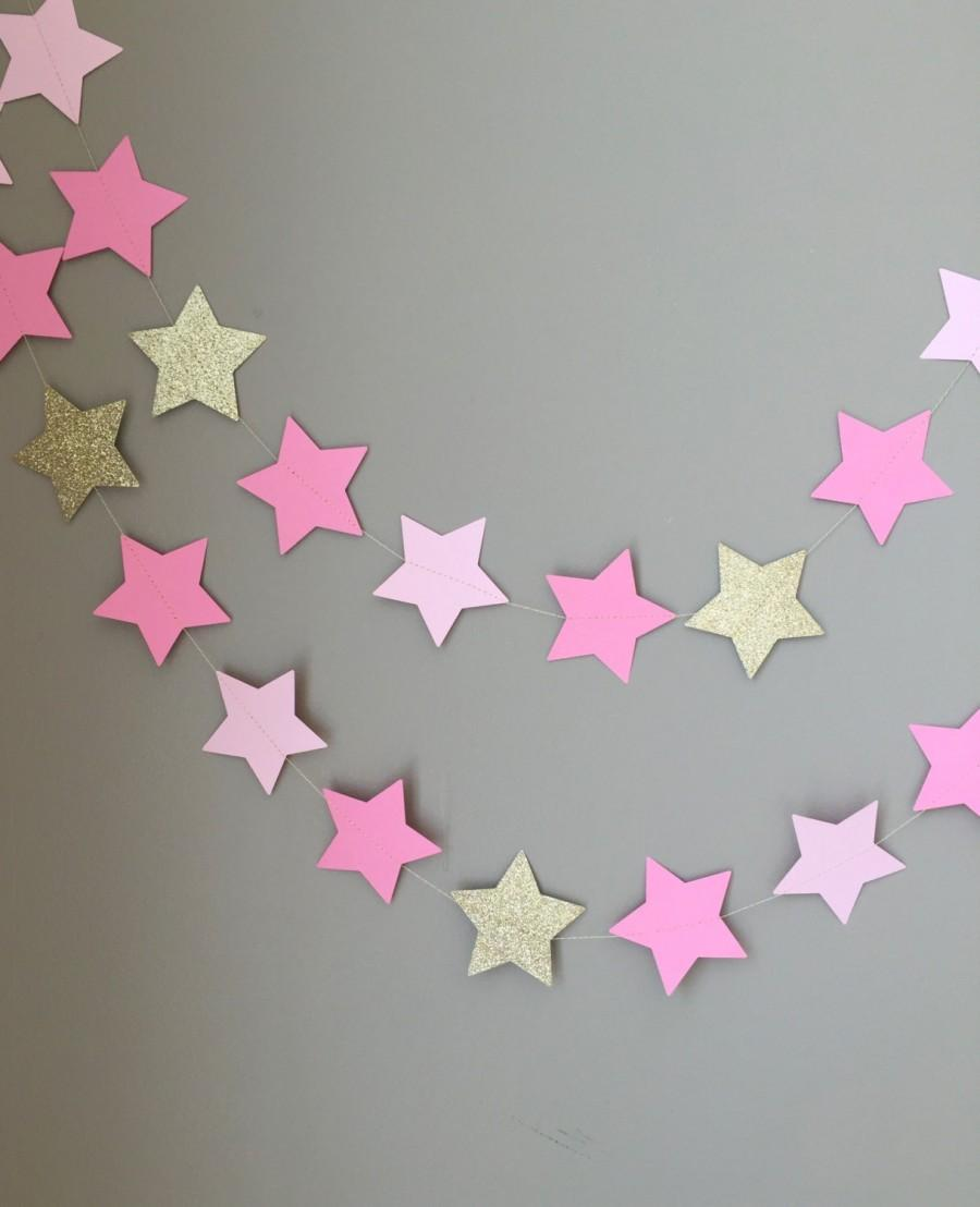 Mariage - Twinkle Twinkle Little Star Garland, Baby Shower Decorations, First Birthday, Pink and Gold Decorations, Birthday, Star Garland, Gold Star