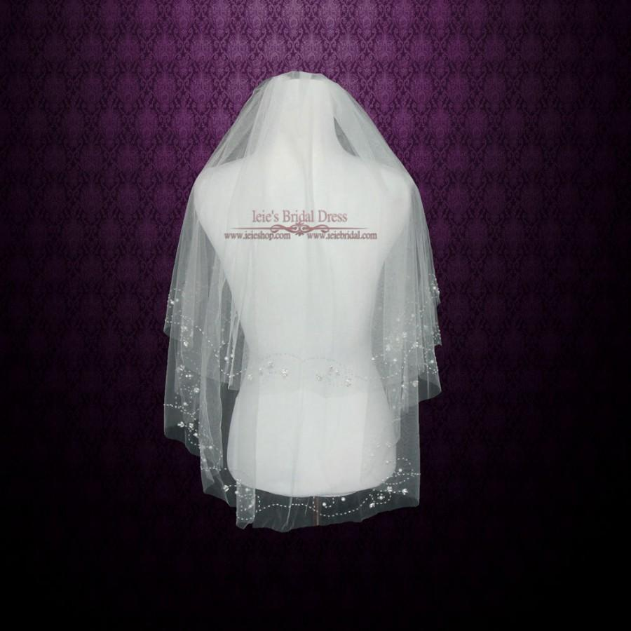 Wedding - Two Tier Fingertip Length Wedding Bridal Veil With Ivory Beadings
