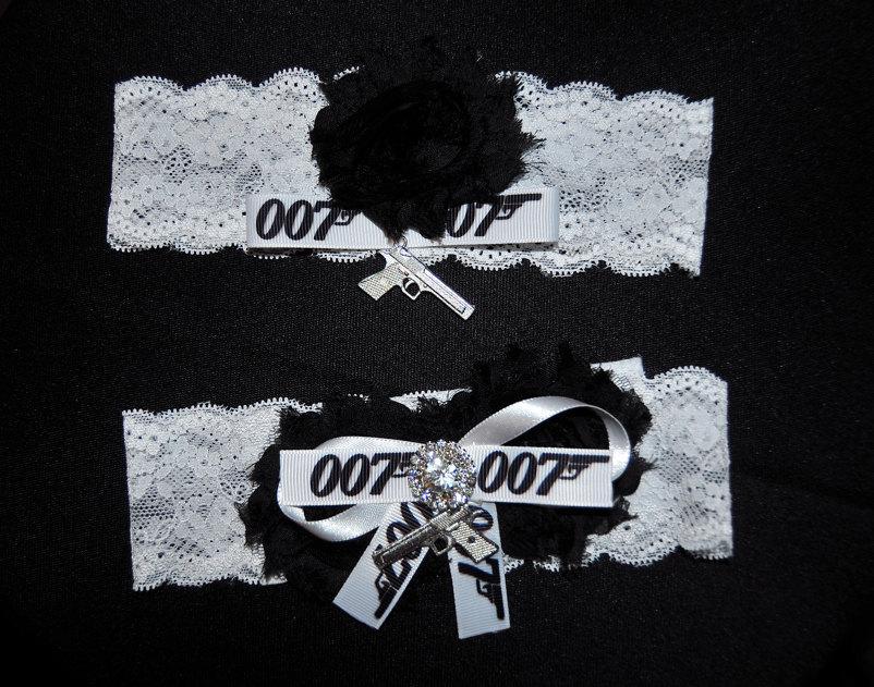 Свадьба - James Bond Inspired Wedding Garter,007 Garter,Super Hero Garter, Lace Garter, Garter,Garter,Plus Size Garter,007 Inspired Garter,007 Theme