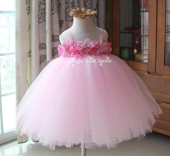 d75f32590 Lt. Pink Hydrangea Flower Girl Tutu Dress Toddler Dress Birthday Dress Baby  Girl Party Dress 1t2t3t4t5t6t7t8t9t