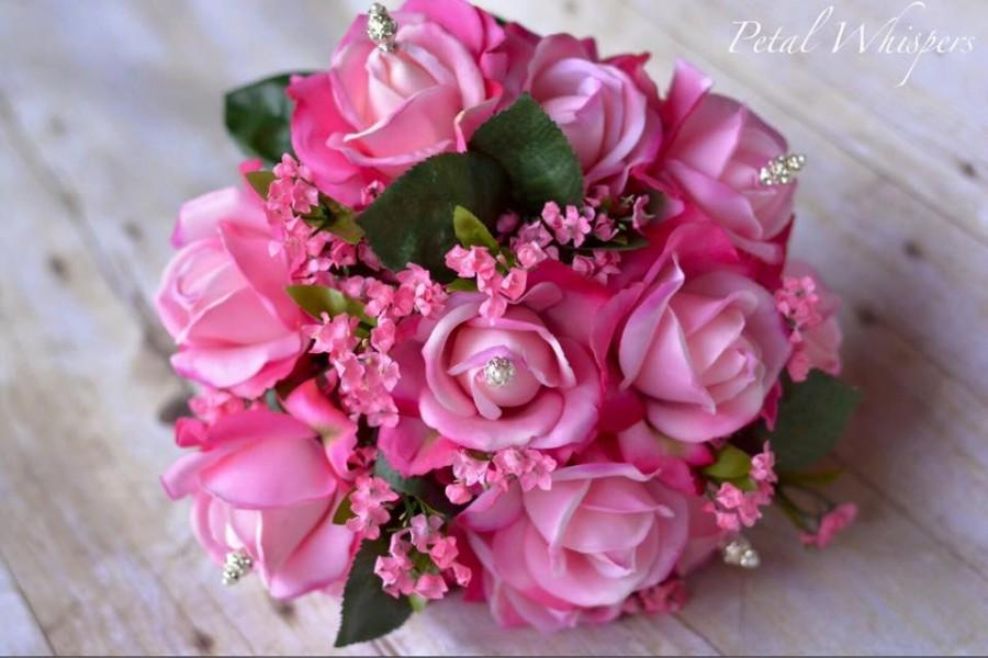 Mariage - Real Touch Rose Pink Bridal Bouquet,Hand Tied Rose Wedding Flower Bouquet, Real Touch Roses, Rose Bridal Bouquet And Grooms Boutonniere