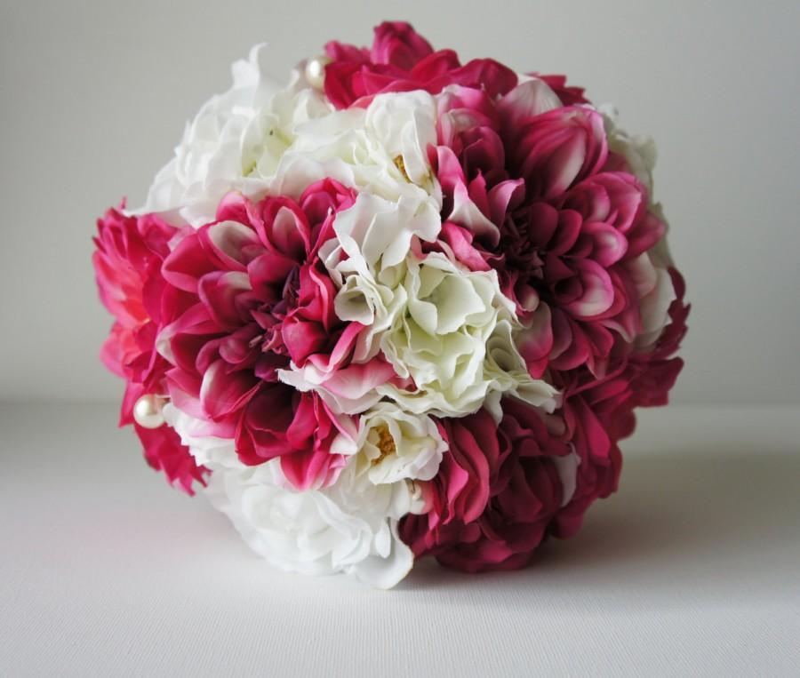 Mariage - Silk Wedding Bouquetk, Silk Bride Bouquet,Hot Pink and White, Roses, Dahlias, Hydrangeas, Keepsake Bouquet Bridesmaid Bouquet