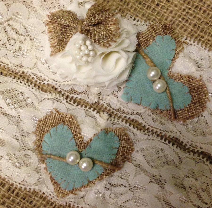 Country Wedding Garters: Wedding Garter, Rustic Wedding Garter, Tiffany Blue Garter