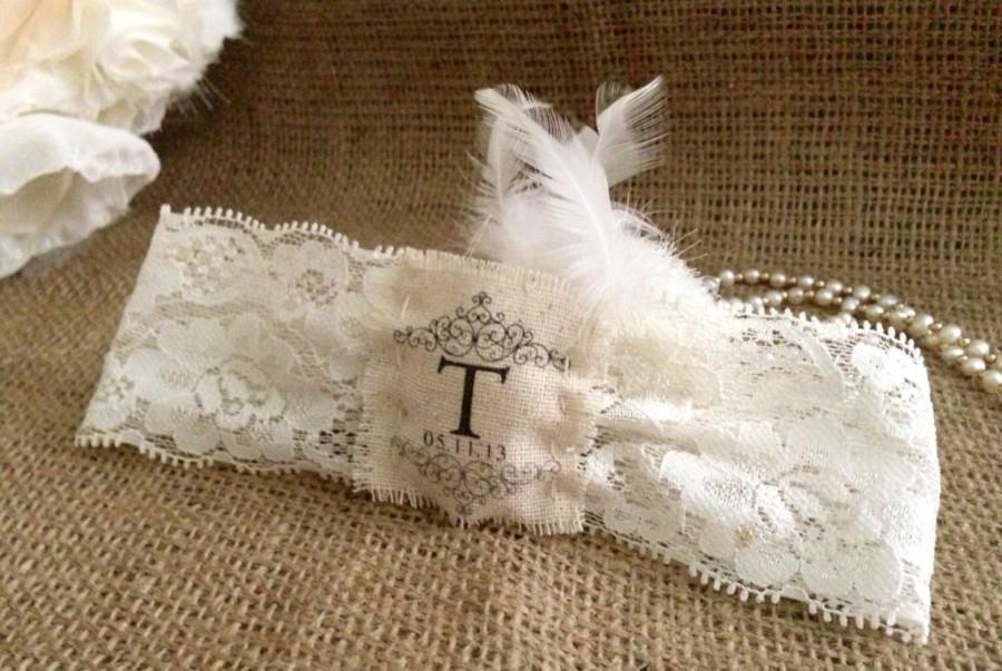 Свадьба - Garter tag, burlap garter, Garter Tag  Wedding  garter, Bridal, rustic wedding, rustic tag, Initial garter, Wedding Date garter, burlap tag