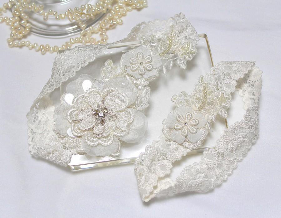 Свадьба - Ivory lace garter set, Wedding Garter Set, Wedding Garter Set, Bridal Garter Set, Wedding Garter Belt, Rustic Wedding Garter
