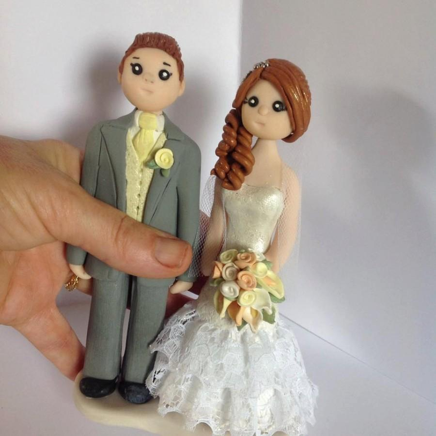 """Mariage - Personalised bride and groom cake topper -  polymer clay everlasting keepsake. Height  approx 6"""" - hand crafted customised figure"""