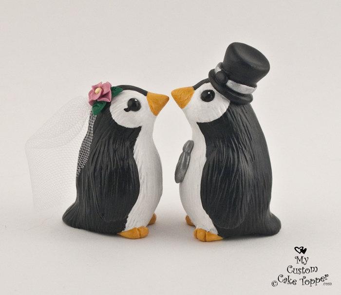 Свадьба - Cute Penguins Wedding Cake Topper