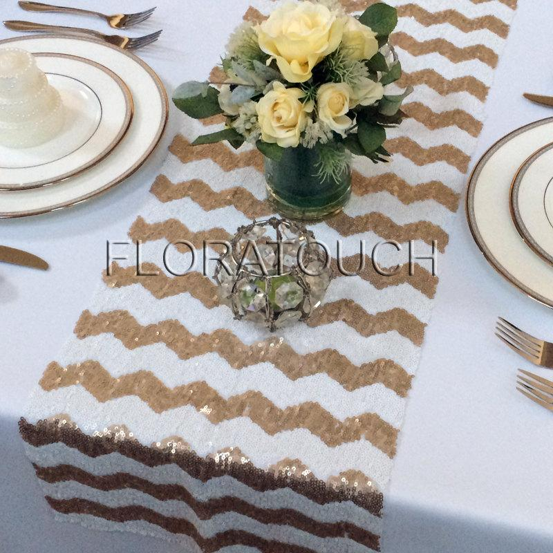 Gold And White Chevron Sequin Table Runner Wedding