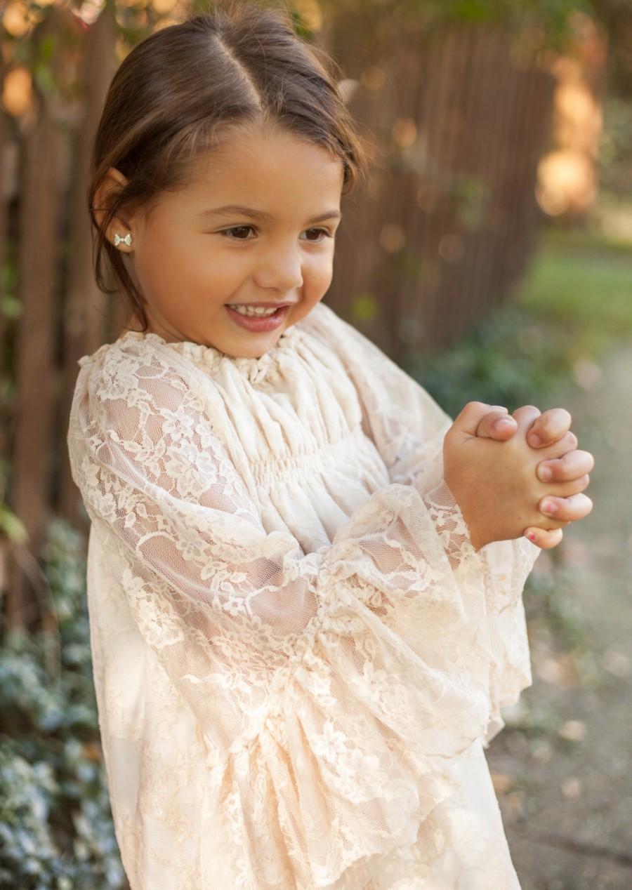 Long Sleeve Lace Flower Girl Dresses