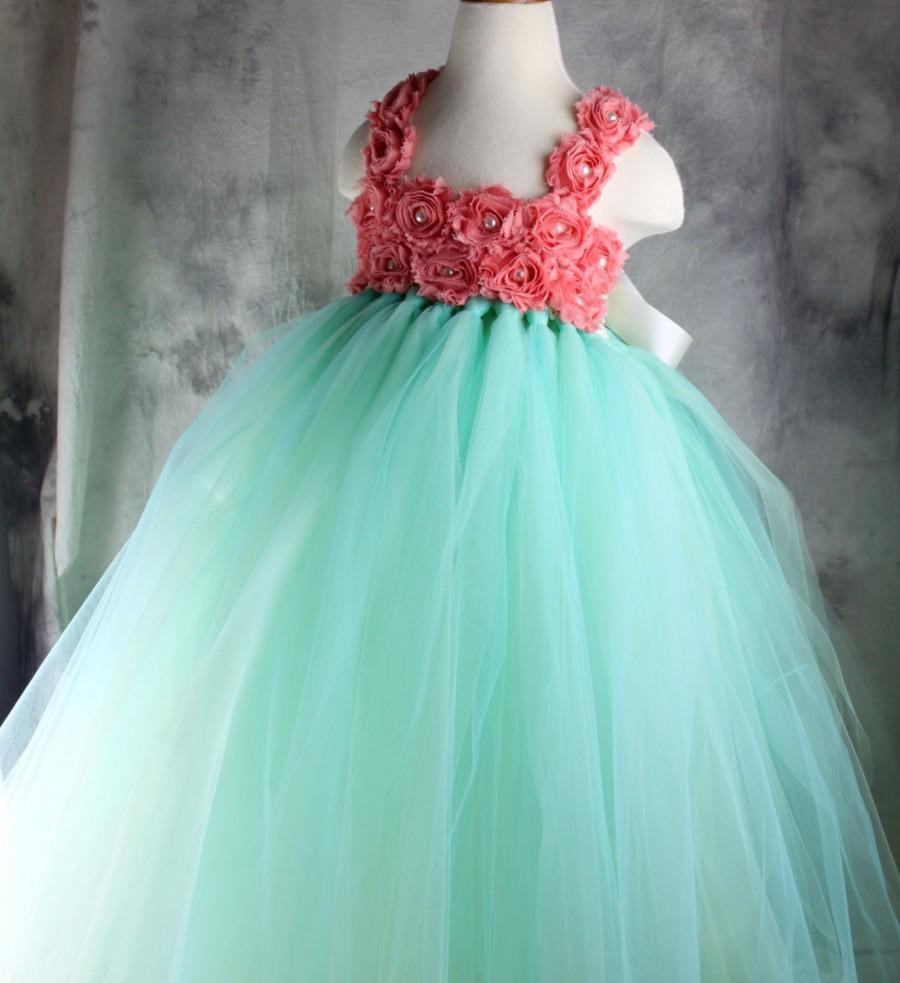 MINT Green CORAL Flower Girl Dress Tutu Dress Wedding Dress Birthday ...